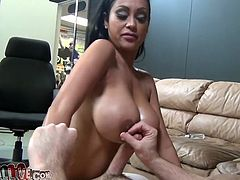 Rapacious raven haired whore used her mesmerizing titties to please her fuck dying dude. Look at this filthy sex doll in My XXX Pass sex video!