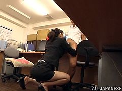 Pretty Japanese chick Ki Hanyuu is playing dirty games with a man in an office. She shows her big natural jugs to the stud and kneels in front of him to suck his wang.
