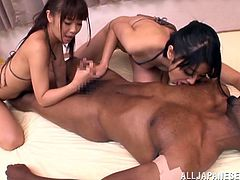 Make sure you take a look at this hardcore interracial threesome with these slutty Asian babe share this guy's big black cocks.