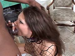 Long and dark haired whore with big tits got her big mouth hammered by that big sloppy cock. Then she enjoyed getting that long black sausage deep in her anus in mish pose. Have a look at that dirty interracial fuck in Fame Digital porn clip!