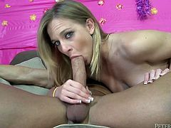 This chick is a crazy talented cock sucker. She sucks his huge cock greedily until he shoots his load in her filthy mouth.