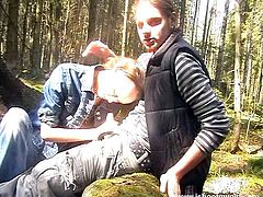 Make sure you have a look at this hot scene where this naughty teen sucks on her boyfriend's hard cock in the middle of the woods before being fucked.