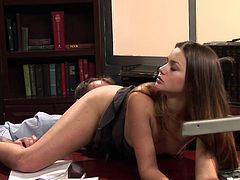 Young with perky tits secretary is in for a harsh fuck with her boss in exchange for a raise next month