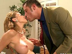 Gorgeous busty blonde Monique Alexander gets her pussy finger fucked by kinky boss