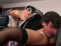 Slutty secretary Nicole Aniston gives her boss an amazingly hot blowjob and gets her sweet pussy nailed hard in the office.