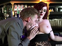 Have fun with this hardcore scene where the busty redhead bartender Jasmine Jae is fucked silly as she bends over a stool.