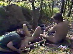 Black haired dirty bitch went to forest alone. She got her hairy pussy punished in mish and doggy styles hard by those mind blowing dudes. Look at that hard outdoors 3 some in The Classic Porn sex video!