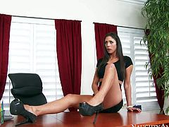 Skinny brunette Anna Morna in red mini skirt and black shoes spreads her long slim legs and gets her tight pink pussy out on office desk in front of her curious boss. Then she gives blowjob he wont soon forget.
