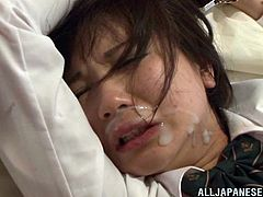 Make sure yu check out this hardcore scene where this naughty Asian teen is fucked by her tutor until he cums on her face after he eating her out.