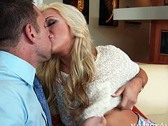 This charming blonde with big boobs can't take away her mouth from her Johnny Castle's cock. She sucks his juicy dick greedily paying special attention to his balls. Then she wants him to eat her delicious pussy. Horny dude doesn't waste any time as he gets down to business right away.