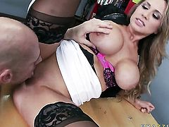Alanah Rae with huge boobs loses control after Johnny Sins puts his stiff schlong in her mouth