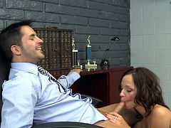 Beauty in black stockings is close to letting her boss ravish that wet cunt in exchange of a raise