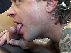 Hussy shemale enjoys watching her boyfriend swallowing her hard cock. He sucks her dick properly and then drills her tight anal hole till the happy end.