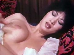 Dark haired thirsting harlot in white night dress is a popular phone tramp. She makes her receivers horny and gets horny by herself. So she used to finger her hot pussy while talking phone...Watch that hot solo in The Classic Porn sex clip!