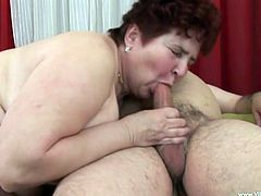Kinky obese mom Anicka is having fun with some old guy. She sucks his weiner hungrily, then lies down on a bed and lets the guy pound her snatch from behind.