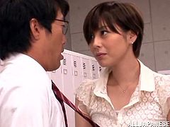 The horny Japanese teacher Saryuu Usui takes a hard fuck from two of her students in the locker room and gets her filthy mouth filled with cum.