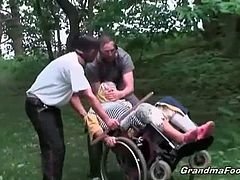 Two masked dude having granny fetish succeeds about their plan to fuck her. Alone in the park they grabbed the opportunity to abduct her and fucked her in a secure place.