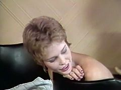 Zealous short haired hootchie deep throat hard cock of her ever thirsting man