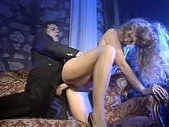 Long and curly haired hooker enjoyed pretty hard and painful doggy style invasion of her tight pussy. Look at that steamy sex in The Classic Porn sex clip!