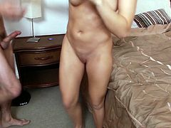 Callie Calypso is a girl of great charm and disarming beauty. Lovely brunette knows what her lover wants. She gets into sideways position to let her lover fuck her tight pussy. Horny dude pounds her twat mercilessly in and out pushing her to the edge of powerful orgasm. Then he fucks her pretty pink pussy in missionary position.