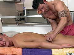 A hot, young, gay guy with dark hair and an exquisite body enjoys a hardcore fuck. Hear him scream with pleasure right now!
