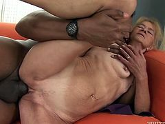 Light haired filthy old box with tiny saggy titties enjoyed hard doggy and sideways styles fuck with brutal African next door guy. Look at that disgusting interracial sex in Fame Digital porn video!