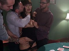 Four gamblers occasionally meet to play cards. But this evening they have company. A slutty Asian generously shares her special skills with them. The elegant lady obediently answers to all their dirty requests. Don't miss the crazy blowjob, when the bitch takes turns to suck each horny cock! Enjoy the show!