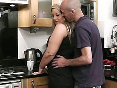 This bald dude can't resist the curves of this fat blonde chick. He licks her cunt and sticks his dick inside it. She feeds on his cock too for a short while.