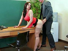 Long haired brunette Kendra Lust with sexy big boobs is a gorgeous woman that seduces her co-workers and takes his love bone in her needy pussy. Watch passionate milf gets slammed on her office desk.
