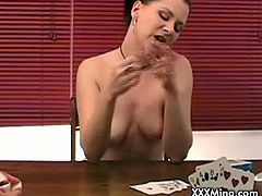 Checkout this busty brunette babe playing a poker game with her buddy. As she starts to loose she has to strip. In the end she is completely nude and horny. Watch this babe gets her tight shaved pussy licked and gives a good head to the guy.