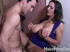 Persia Monir is a big ass MILF with amazing tits and she is all into big cocks. Watch how sweet she blows his rod before taking it deep into her hairy snatch.