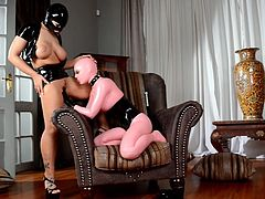 Provocative seductress wearing black lingerie gets her slit licked by one sex appeal chick in pink latex costume. Enjoy watching two horny chicks in exciting DDF Network sex tube video.