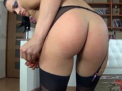 Lacy Nylons brings you a hell of a free porn video where you can see how this sexy brunette temptress poses in black stockings while assuming some very naughty positions.