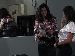 Gorgeous lesbians get incredibly turned on in the office as they lick their perfect little pussies and their yummy buttholes on top of the desk.