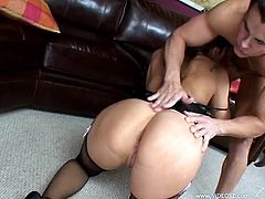 Lovely cowgirl in a sexy lingerie and fishnet stockings bends showing her hot ass as she gives a blowjob before getting drilled doggystyle