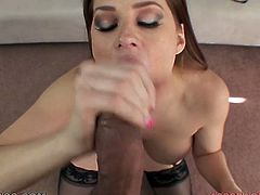 Long and dark haired hottie with huge attractive tits kneeled down to suck that sugary lollicock ardently and properly. Just watch that steamy BJ in My XXX Pass porn video!