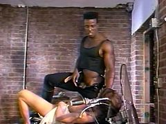 That tasty looking hottie lies on bike with legs spread apart and enjoys getting her wet kitty licked tough. Then she got presented hard doggy style fuck. Have a look at that steamy interracial sex in The Classic Porn sex clip!
