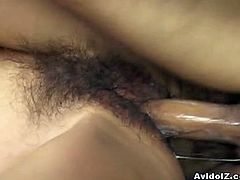 Skinny Japanese slut Aya Fukunaga fucked hard in her hairy cunt. She moans and screams as her pussy is fucked raw, and her pussy is wet in pleasure but she surely enjoys it.