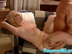 Check this blonde cougar, with natural jugs wearing high heels, while she gets nailed hard over a couch and moans like a horny MILF.