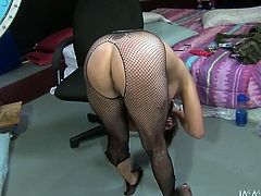 Extravagant hoochie with big tattoo on her back and wearing sexy fishnet pantyhose gets fucked doggy and missionary style. Don't skip this top rated My XXX Pass sex tube video.