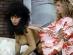 Curly haired hungry blonde enjoys licking sweet vagina of her zealous brunette pal. Just watch that steamy lesbian copulation in The Classic Porn sex clip!