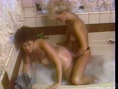 Lesbian Cougars Toying Their Pussies While Taking A Bath