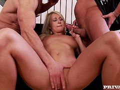 Gorgeous blonde cowgirl in a sexy panties yells as he spanks her hot ass then she gives a blowjob and a hand job before her shaved pussy is rocked