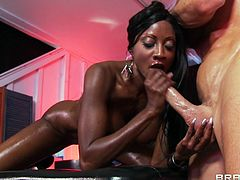 Gorgeous ebony Diamond Jackson gives Johnny Sins a very special massage and ends up getting her sexy face covered with his hot cum.
