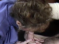 Light haired lusty bitch adores to provide her thirsting boss with passionate blowjob. That's the way she can earn more money. Take a look at that ugly bitch in The Classic Porn sex clip!