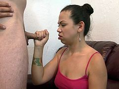 A pretty brunette with small, natural tits and a shaved pussy enjoys an awesome doggy style fuck. Hear her scream with pleasure now!