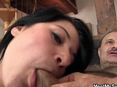 His mother and father decided to finally meet their son's hot brunette girlfriend. Watch as she shares his dad's cock and takes a nasty ride to show what little slut she is.