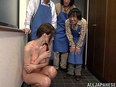 Check out this hot scene where this busty Japanese beauty is fucked by two guys as you check out her great body and specially her big natural breasts.