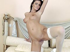 Press play to watch this brunette babe, with natural boobs wearing nylon stockings, while she moves sensually to play with your dirty mind.