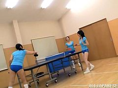 A few Japanese girls, wearing sport clothes, are getting naughty in a gym. One of the chicks shows her body to the coach and pleases herself with fingering right there.